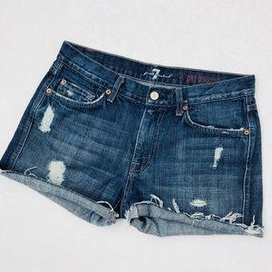 7FAM A Pocket Custom Cutoff Shorts Distressed